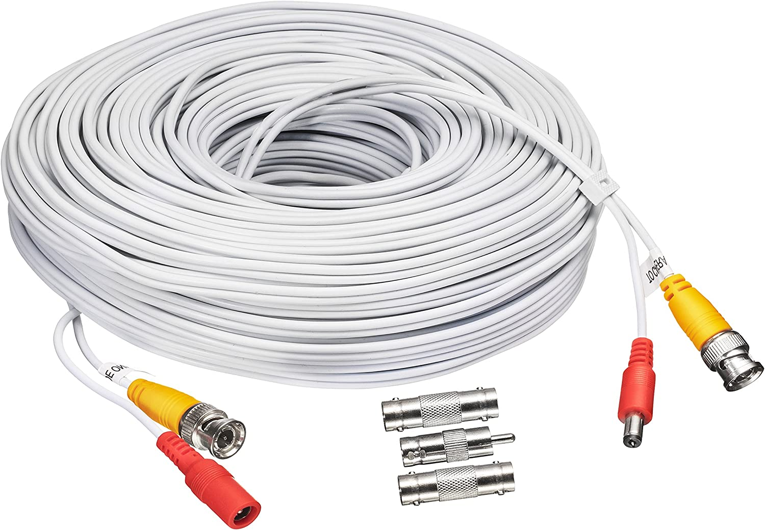 BNC CCTV DVR Cable Video Surveillance Security System Camera Coaxial Wire Cord Connector (60ft) Premade All-in-One with Power Cord - 60 Feet