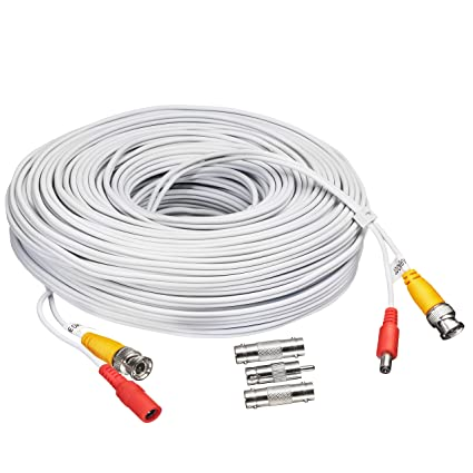BNC CCTV DVR Cable Video Surveillance Security System Camera Coaxial Wire Cord Connector (25ft)