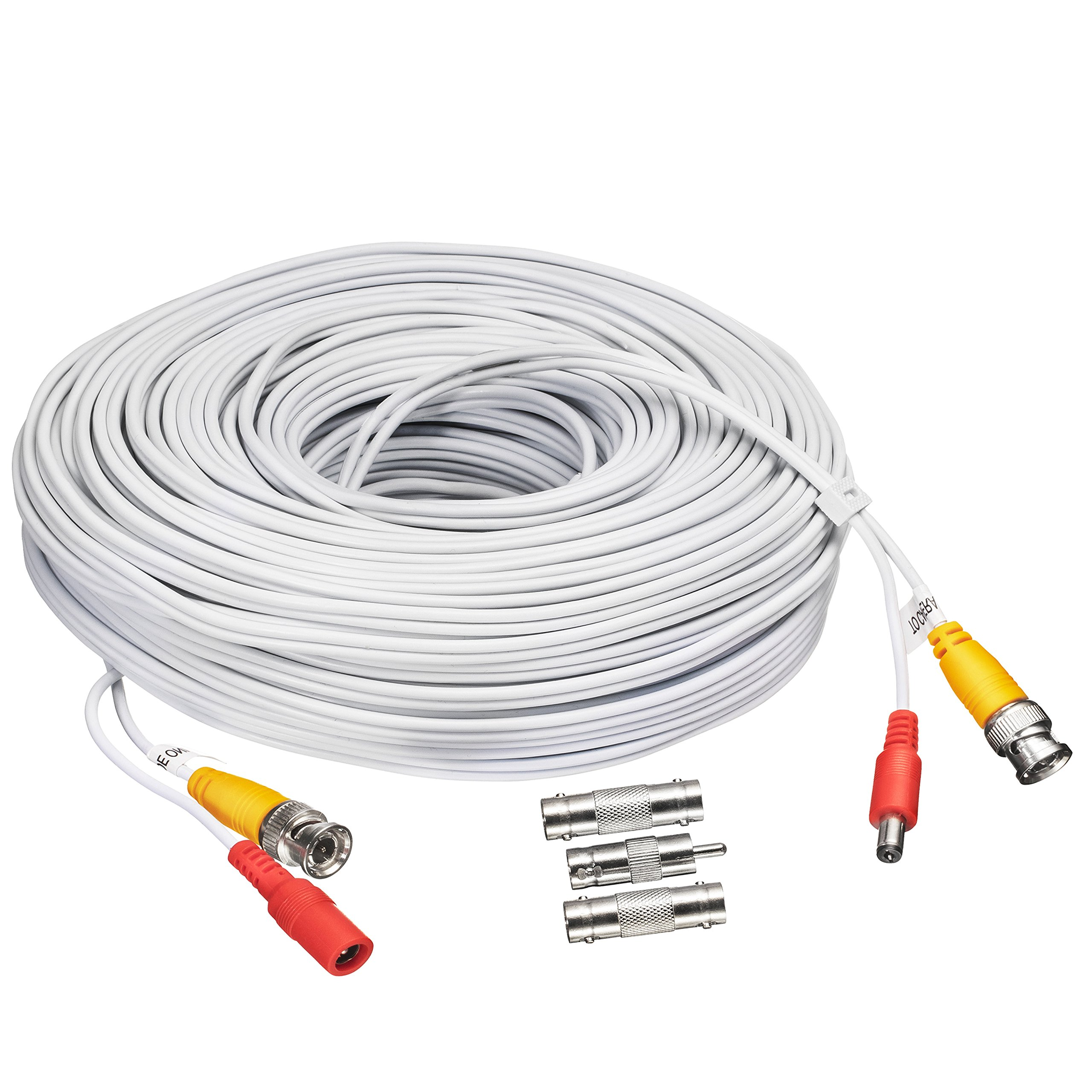BNC CCTV DVR Cable Video Surveillance Security System Camera Coaxial Wire Cord Connector (100ft) Premade All-in-One with Power Cord - 100 Feet
