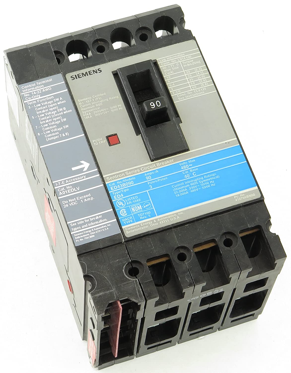 ED43B090LAC Siemens Molded Case Circuit Breaker 3 Pole 90 Amp 480VAC ...