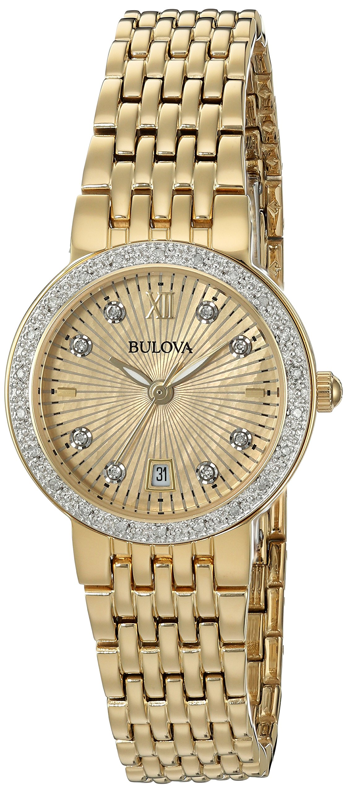 Bulova Women's Quartz and Stainless-Steel Casual Watch, Color:Gold-Toned (Model: 98R212)