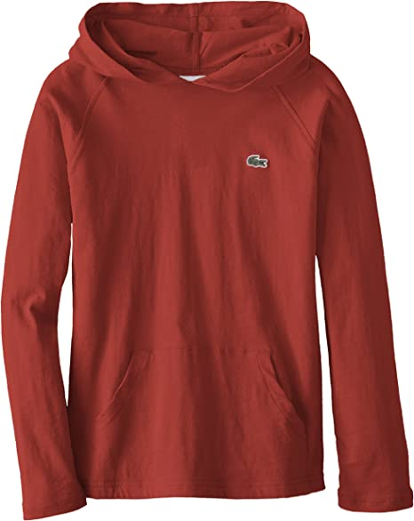 Boy/'s Kids Solid Everyday Hooded Short Sleeve Front Pocket Hoodie T-Shirt Red