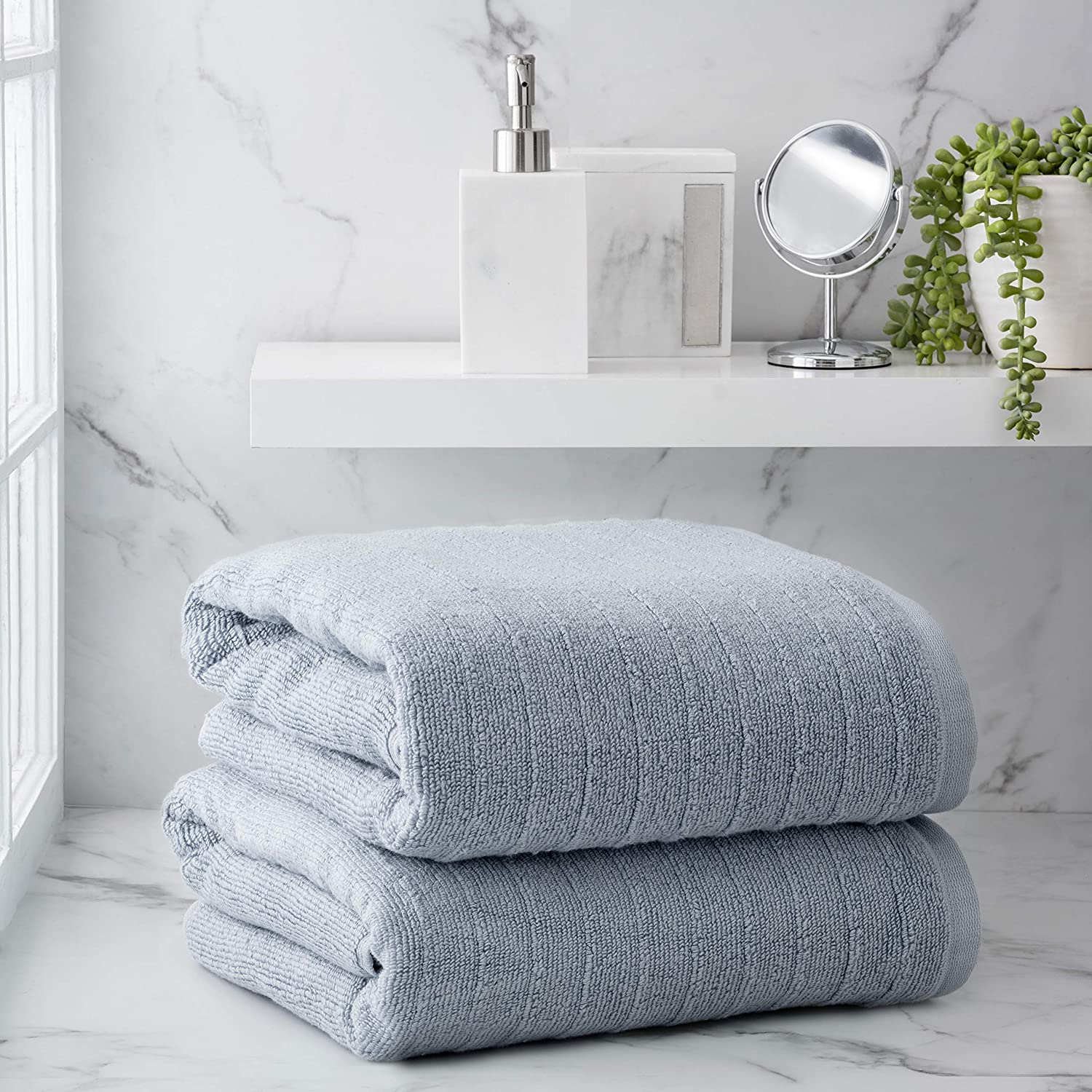 Welhome James 100% Cotton 2 Piece Bath Sheets | Dusty Blue | Stripe Textured | Supersoft & Durable | Highly Absorbent & Quick Dry | Ideal for Everyday Use | 450 GSM | Machine Washable: Home & Kitchen