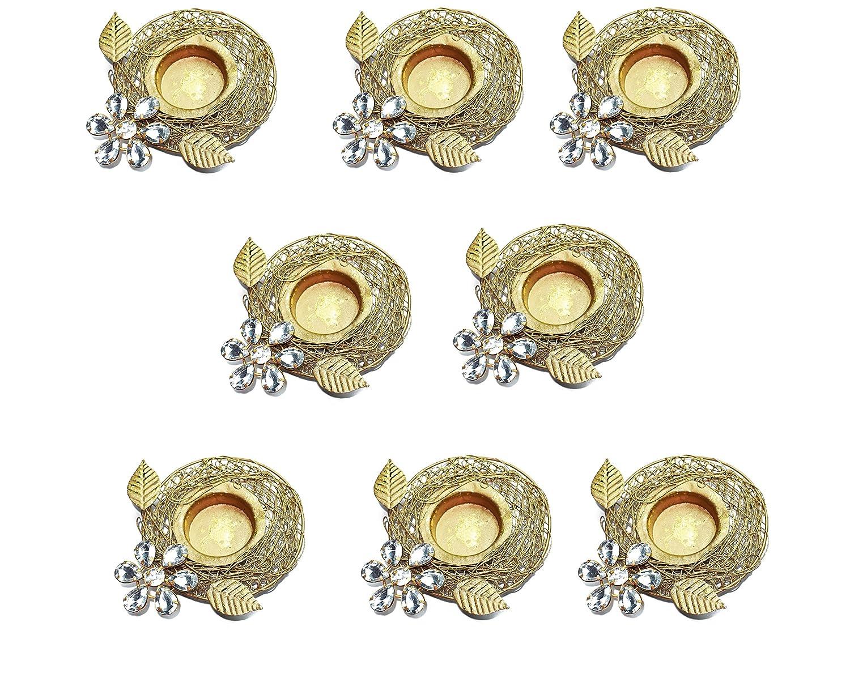 Set of 8 pc Diwali Gift/Decoration Beautiful Diwali Diya/Metal Diya with white stones in Random Foil Paint. Deepawali Diya/Oil Lamp/Tea Light Holder/Diwali Decoration/Christmas Decoration … Crafts'man