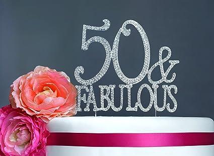 Amazoncom 50 Fabulous Cake Topper Birthday Premium Rhinestone