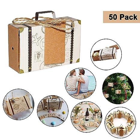 Cajas para Favores Mini Maletas Viaje - Regalos de Caramelos Invitados (50 Piezas) W7