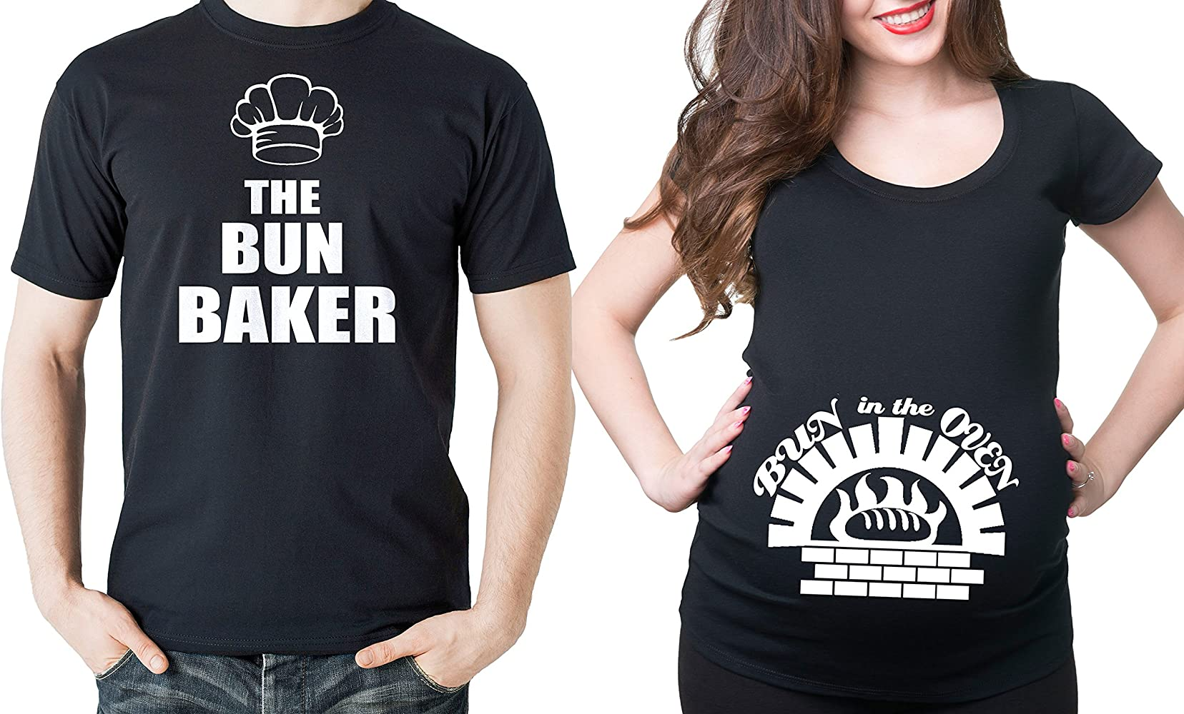 8792d35a Bun Baker Couple Maternity Tee Shirt Bun in The Oven Dad and mom Maternity  Couple New