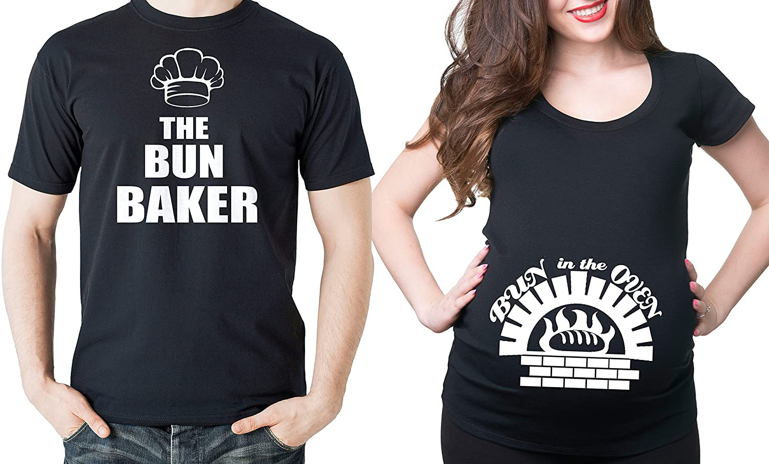 Bun Baker Couple Maternity Tee Shirt Bun in The Oven Dad and mom Maternity Couple New Baby Shower Shirts Pregnancy T-Shirt