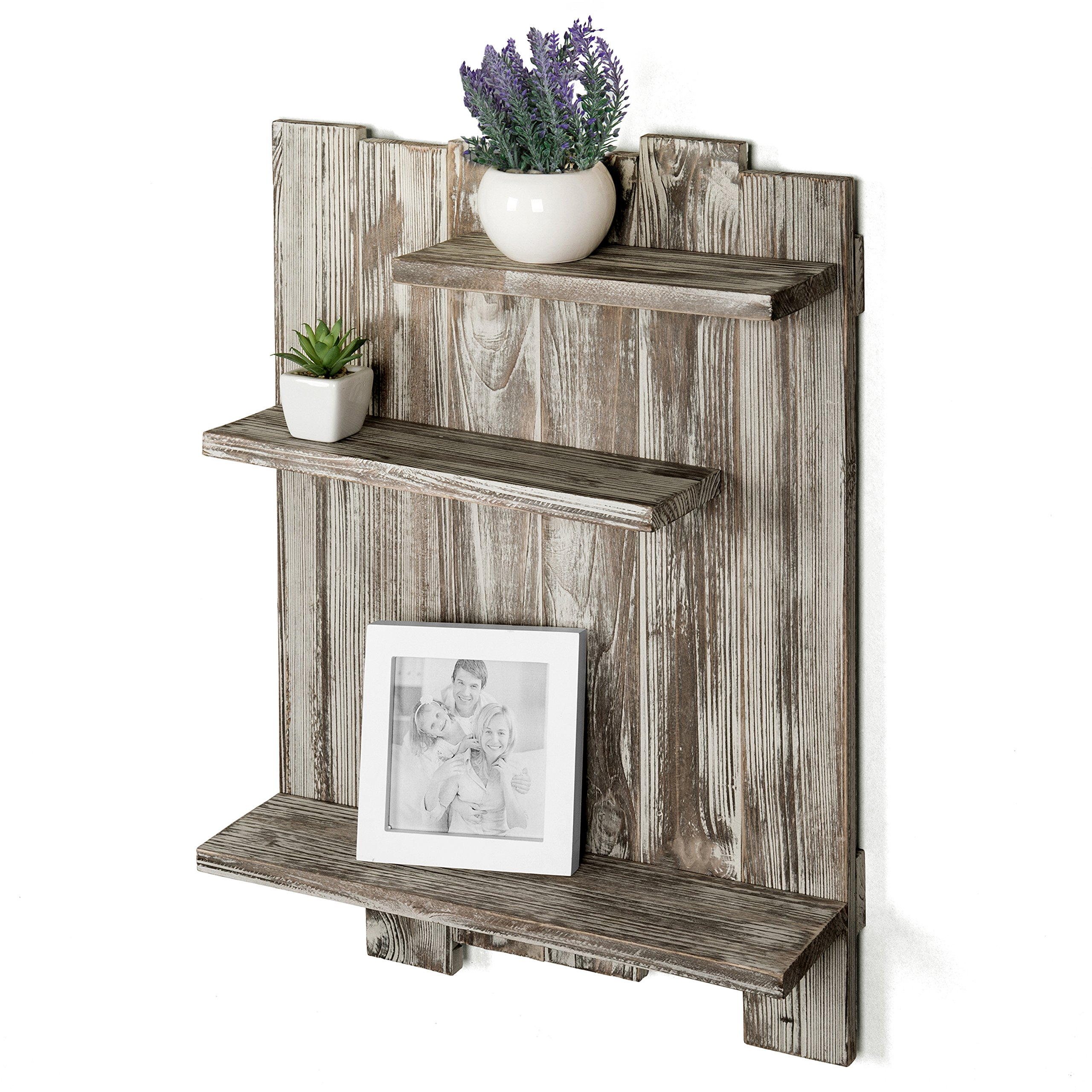 MyGift Rustic Torched Wood Pallet-Style Wall Mounted 3-Tier Decorative Display Shelf by MyGift