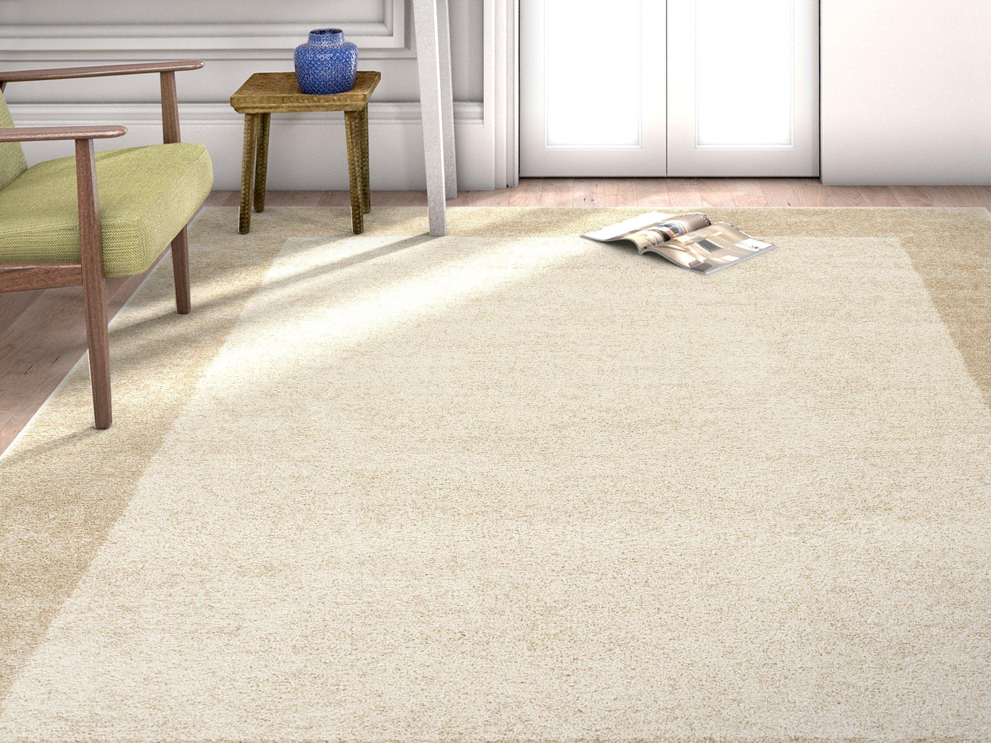 HomeWay Bordered Beige 5'3 x 7'3 Mid-century shaded pattern soft Rug modern Velvety bright soft Area Rug