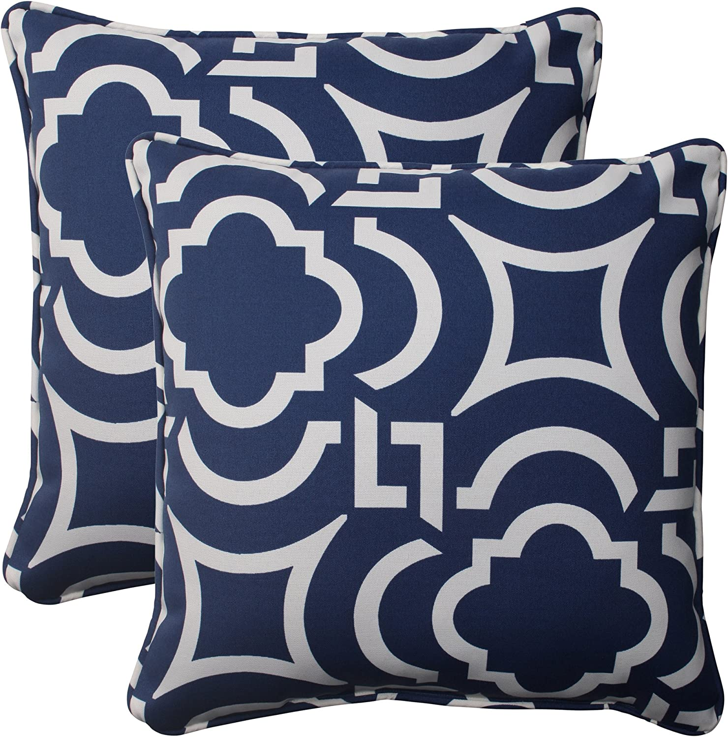 Pillow Perfect Outdoor Carmody Corded Throw Pillow, 18.5-Inch, Navy, Set of 2