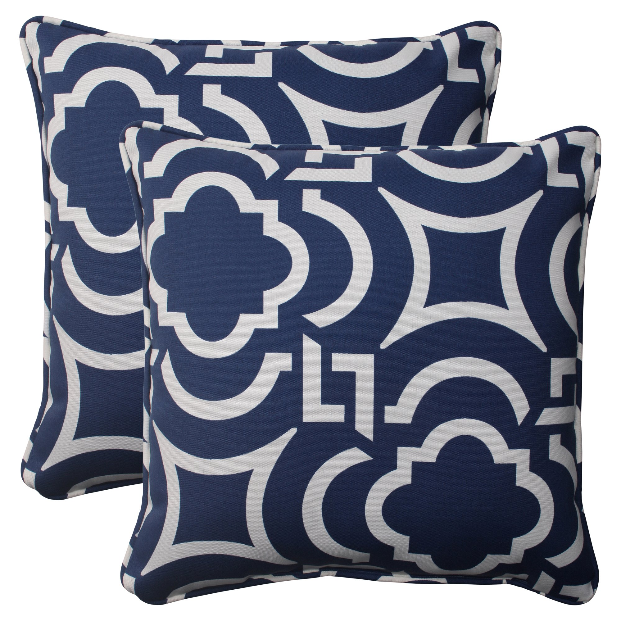 Pillow Perfect Indoor/Outdoor Carmody Corded Throw Pillow, 18.5-Inch, Navy, Set of 2 by Pillow Perfect