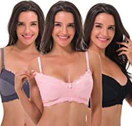 af473bbdca7 Curve Muse Women s Nursing Plus Size Wirefree Maternity Bra with Lace Trim- 3Pack
