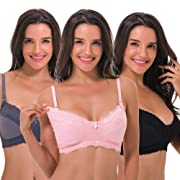 Curve Muse Women's Plus Size Nursing Wirefree Bra with Full Figure Lace-3Pack-BLACK,Nude,GRAY-38DDDD
