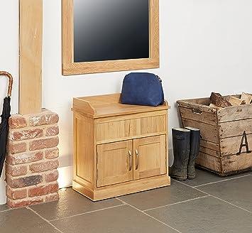 baumhaus mobel oak shoe bench with hidden storage amazon co uk kitchen home