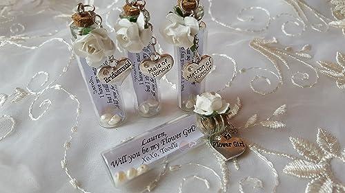 Bridesmaid Personalised Rhinestone Heart ~ Pendant Necklace Flower Girl Gift Box