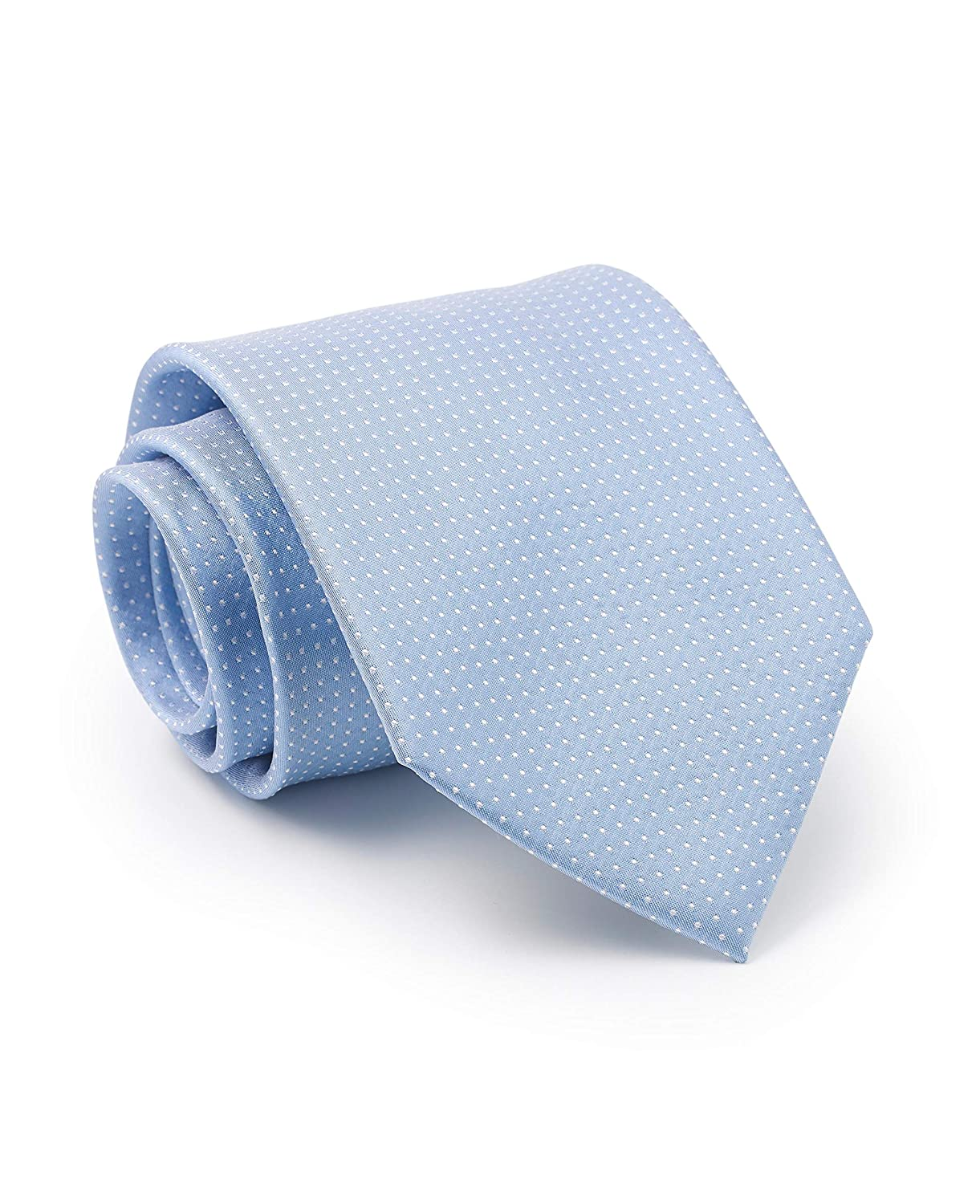 Savile Row Mens Light Blue White Pinspot Silk Tie