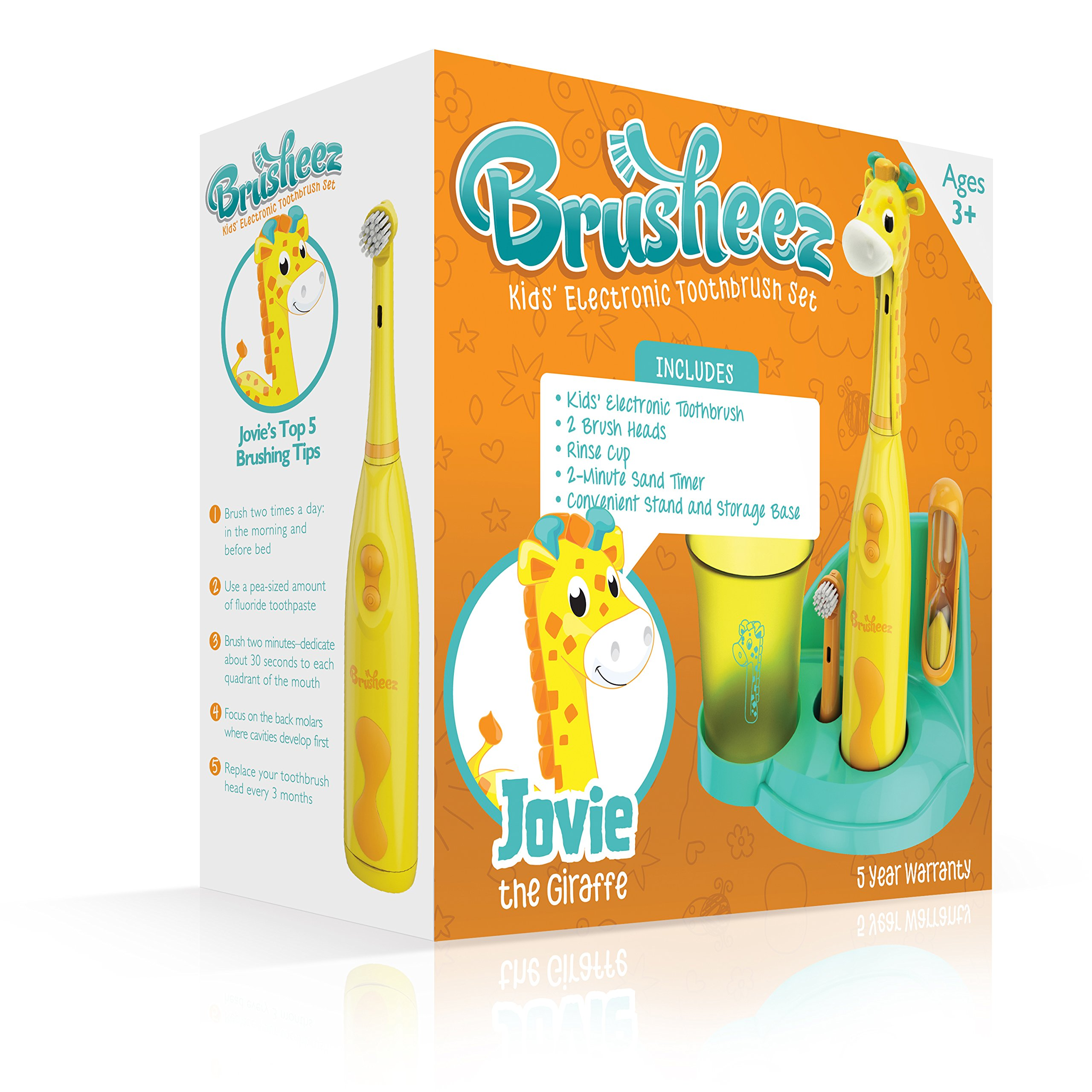 Brusheez Children's Electronic Toothbrush Set – Includes Battery-Powered Toothbrush, 2 Brush Heads, Cute Animal Head Cover, 2-Minute Sand Timer, Rinse Cup, and Storage Base - Jovie the Giraffe by Brusheez (Image #3)
