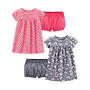 Simple Joys by Carter's Girls' 2-Pack Short-Sleeve and Sleeveless Dress Sets, Pink Print/Gray Butterfly, 3-6 Months