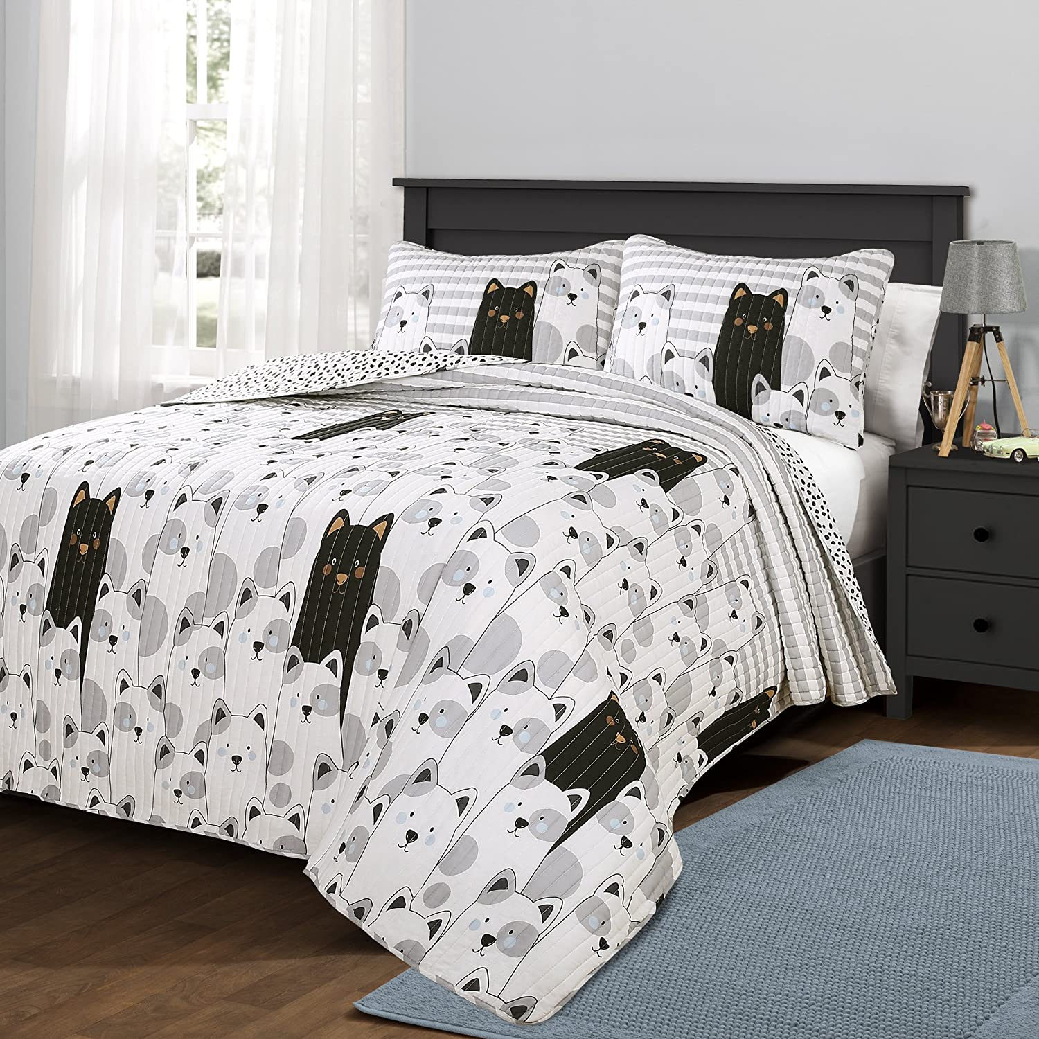 Lush Decor Bear Striped Quilt Reversible 2 Piece Cartoon Zoo Kids Bedding Set-Twin-Gray and Black