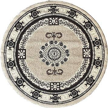Amazon Com Americana Traditional Round Persian Area Rug Beige Design 121 7 Feet 3 Inch X 7 Feet 3 Inch Furniture Decor