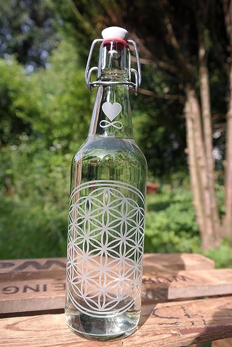 freiglas 0,5L Botella de cristal ~ flor de la Vida ~ fabricado en negro