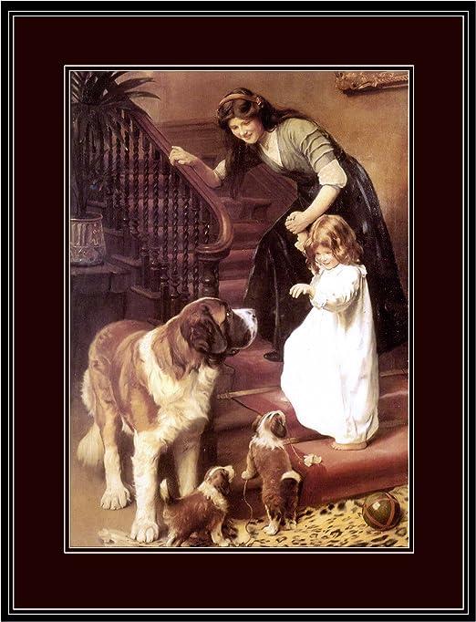 English Springer Spaniel Puppy  Dog Puppy Dogs Puppies Vintage Art Poster Print