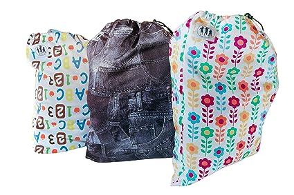 Bolsas de pañales de tela con patrones – conjunto de 3 – Niña pequeña/ Unisex