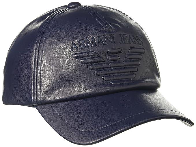 bb8a2c22960c5 Armani Jeans Men s Nappa Leather Look Soft Logo Baseball Cap