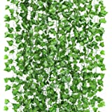 GPARK 12 Pack/ Each 82 inch, Artificial Ivy Garland Fake Leaf Plants Vine , Flowers Hanging For Wedding Party Home…