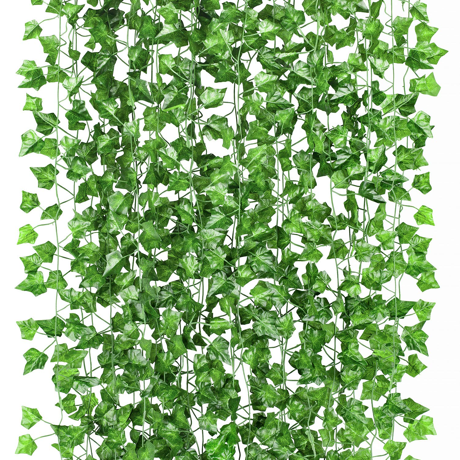 GPARK 12 Pack / Each 82 inch, Artificial Ivy Garland Fake Leaf Plants Vine , Flowers Hanging for Wedding Party Home Garden Kitchen Office Outdoor Greenery Wall Decor Green