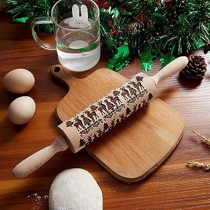 Utensili da Cucina Rolling Pin per Cuocere Biscotti Torte Pasticceria Torta Regalo di Natale Capodanno 35CM Mattarello in Legno Goffrato con Motivi Natalizi Goffratura Mattarello 20Motivi in Rilievo