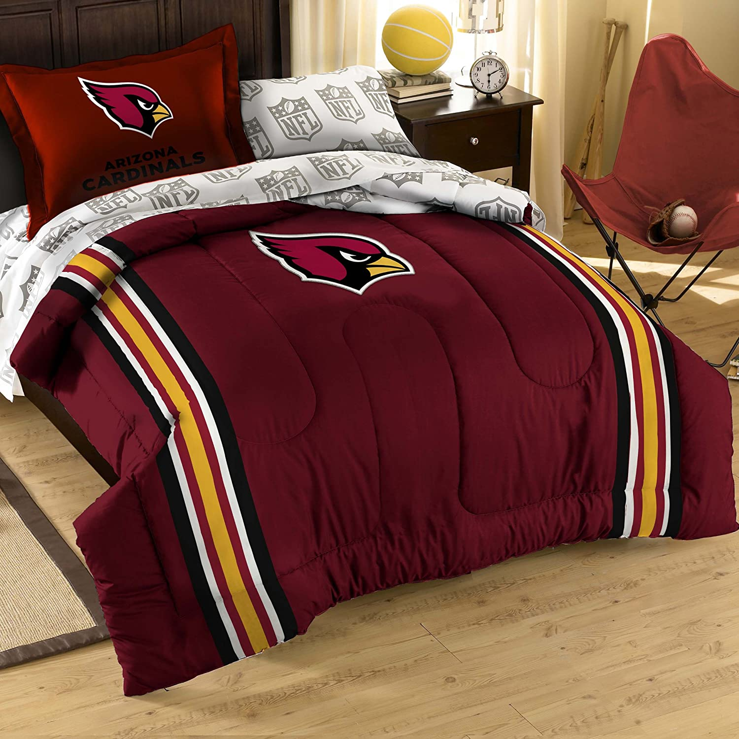 THE NORTHWEST COMPANY Officially Licensed NFL Arizona Cardinals Twin Bedding Set, Multi Color