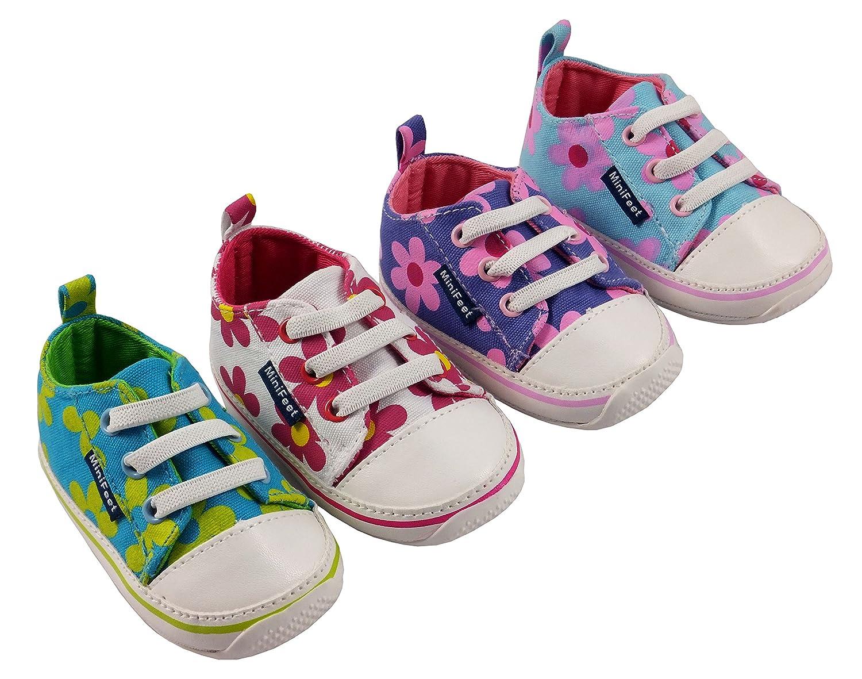 MiniFeet Toile bébé Chaussures, Marguerites, 0-6, 6-12, 12-18 18-24 mois