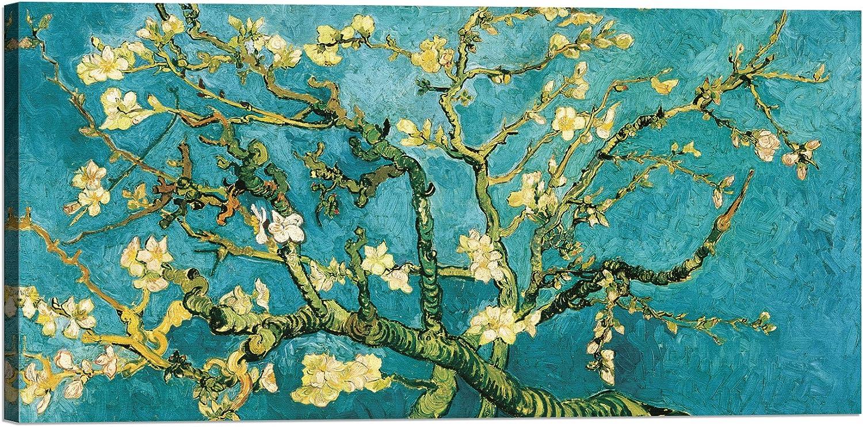 LuxHomeDecor marco impresión sobre lienzo con bastidor de madera Vincent Van Gogh Almendro en flor (Detail)
