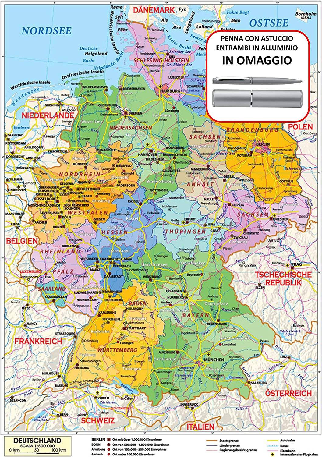 Regioni Germania Cartina.Carta Geografica Murale Germania In Lingua Madre Tedesca 100x140 Bifacciale Fisica E Politica Amazon It Cancelleria E Prodotti Per Ufficio