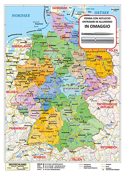 Cartina Geografica Germania Politica.Carta Geografica Murale Germania In Lingua Madre Tedesca