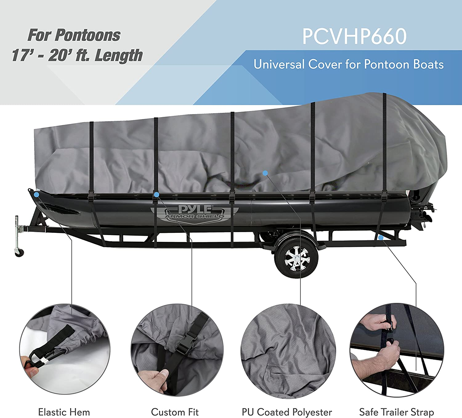 Pyle Protective Storage Boat Cover PCVHP660 Waterproof for 17 to 20ft Pontoon