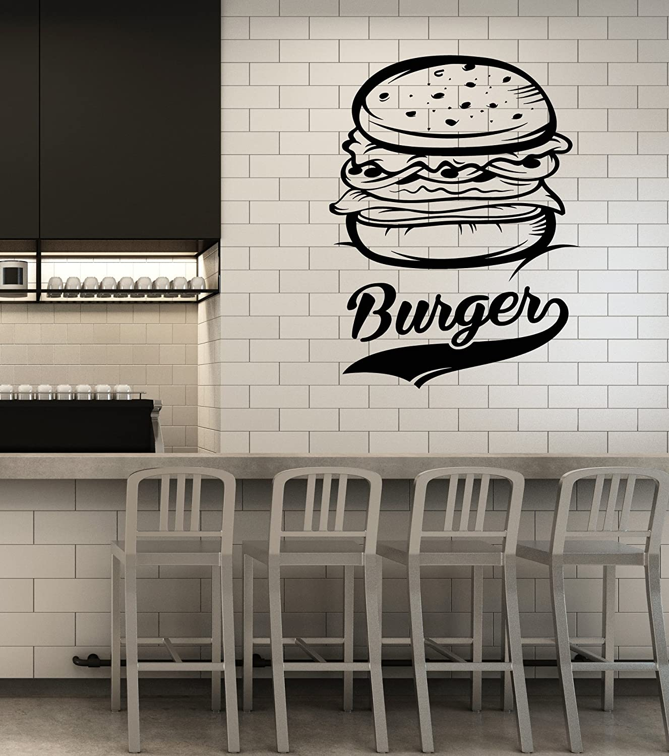 Vinyl Wall Decal Burger Fast Food Restaurant Food Truck Art Stickers Mural Large Decor (ig5363)