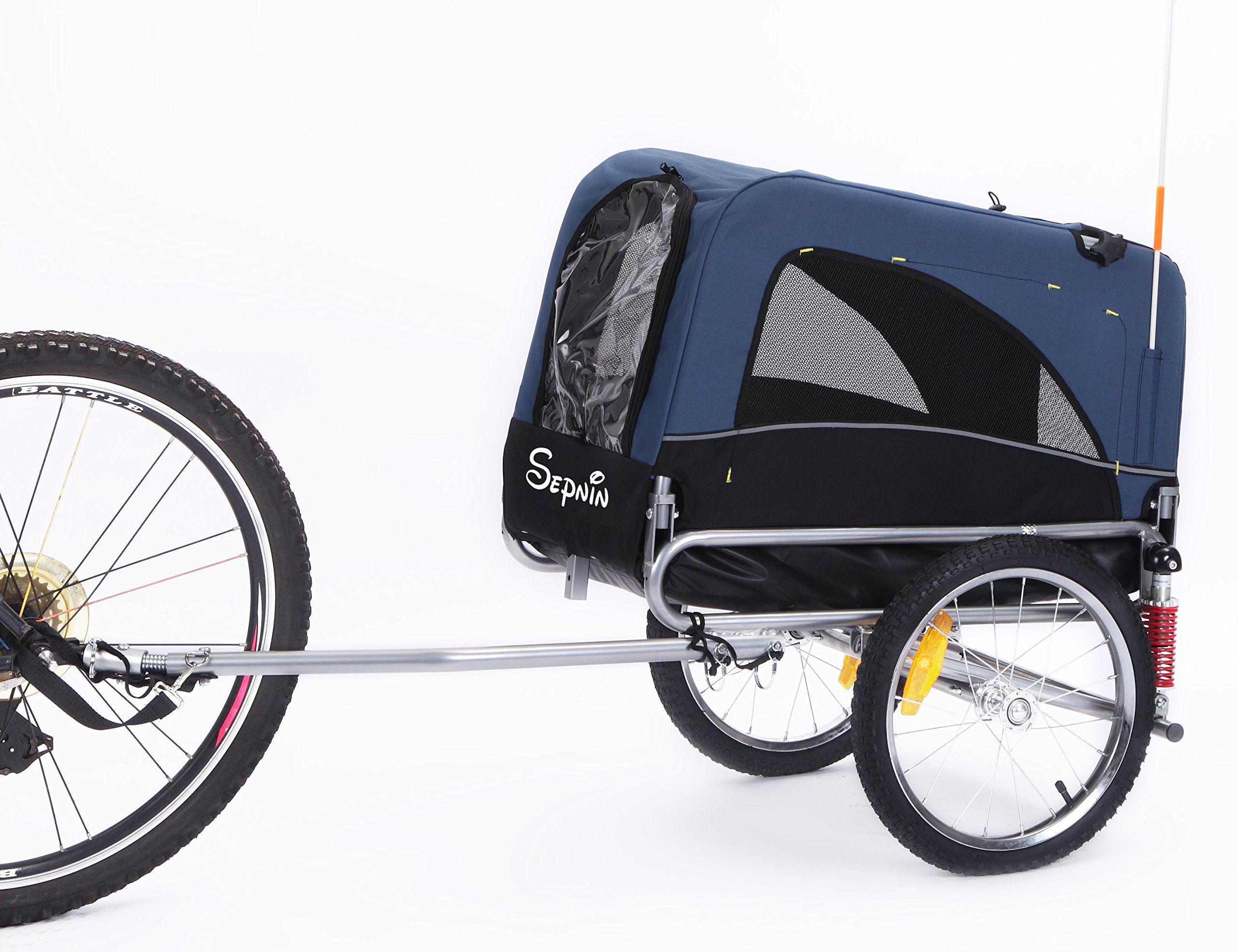 Sepnine 2 in 1 Small Sized Comfortable Bike Trailer Bicycle Pet Trailer/Dog Cage 10308S (Blue/Black)