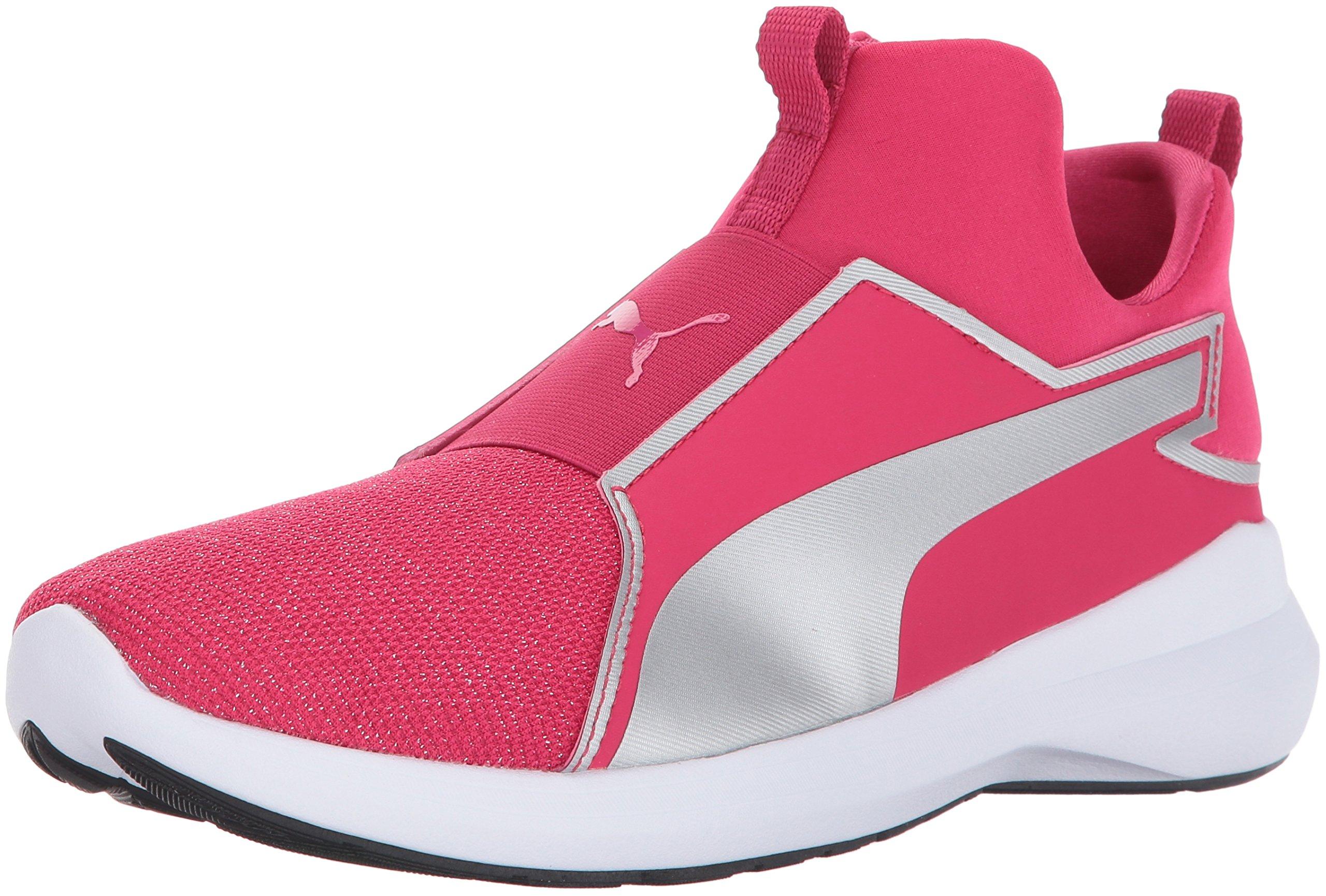 PUMA Unisex-Kids Rebel Mid Gleam Sneaker, Love Potion Silver, 11 M US Little Kid