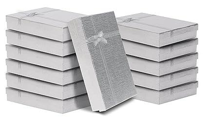 Pack de 12 Cajas para Joyas Anillo Collar con Inserto de Terciopelo por Kurtzy - Cajas