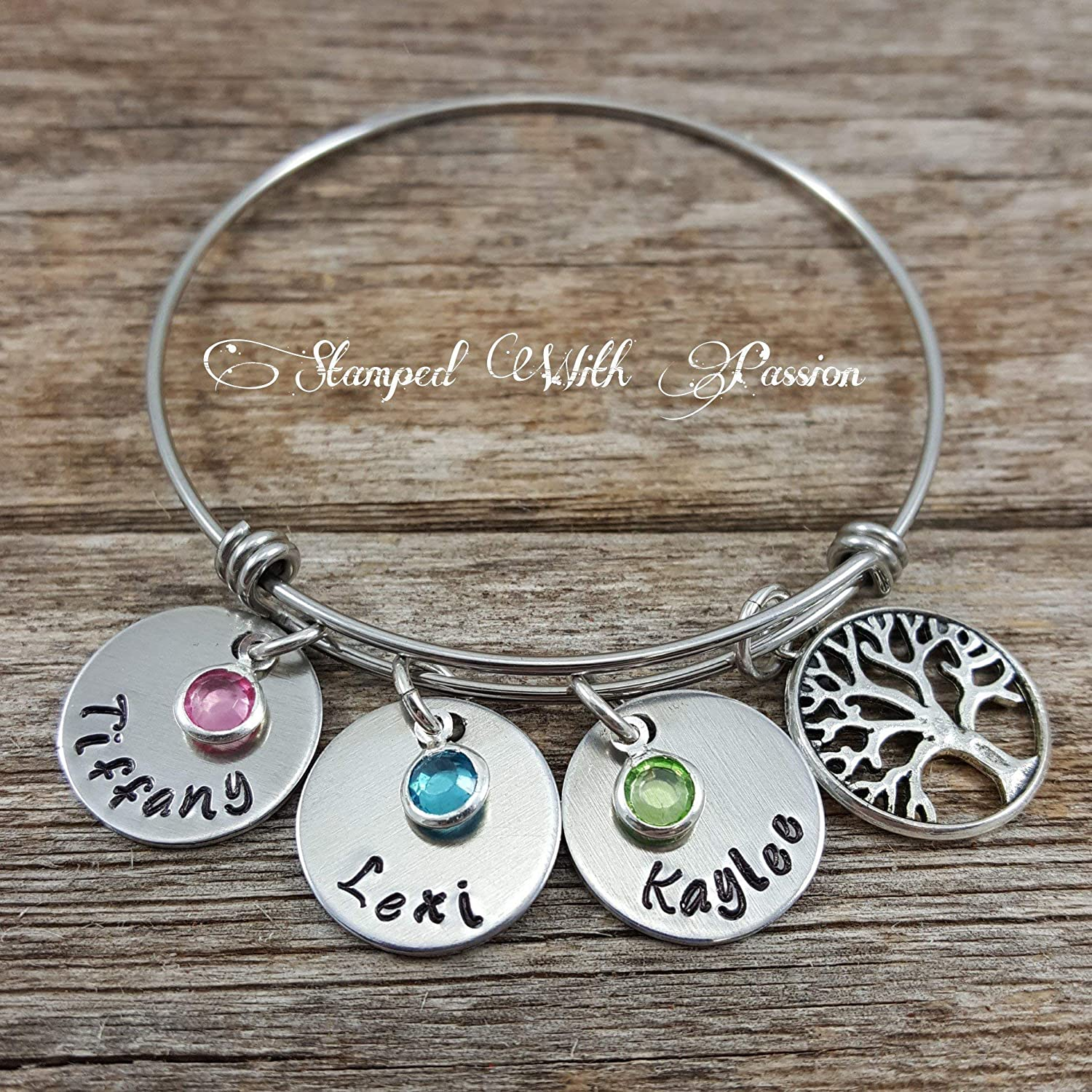 Handmade Personalised Birthstone Family Tree Charm Stainless Steel Mother Bangle