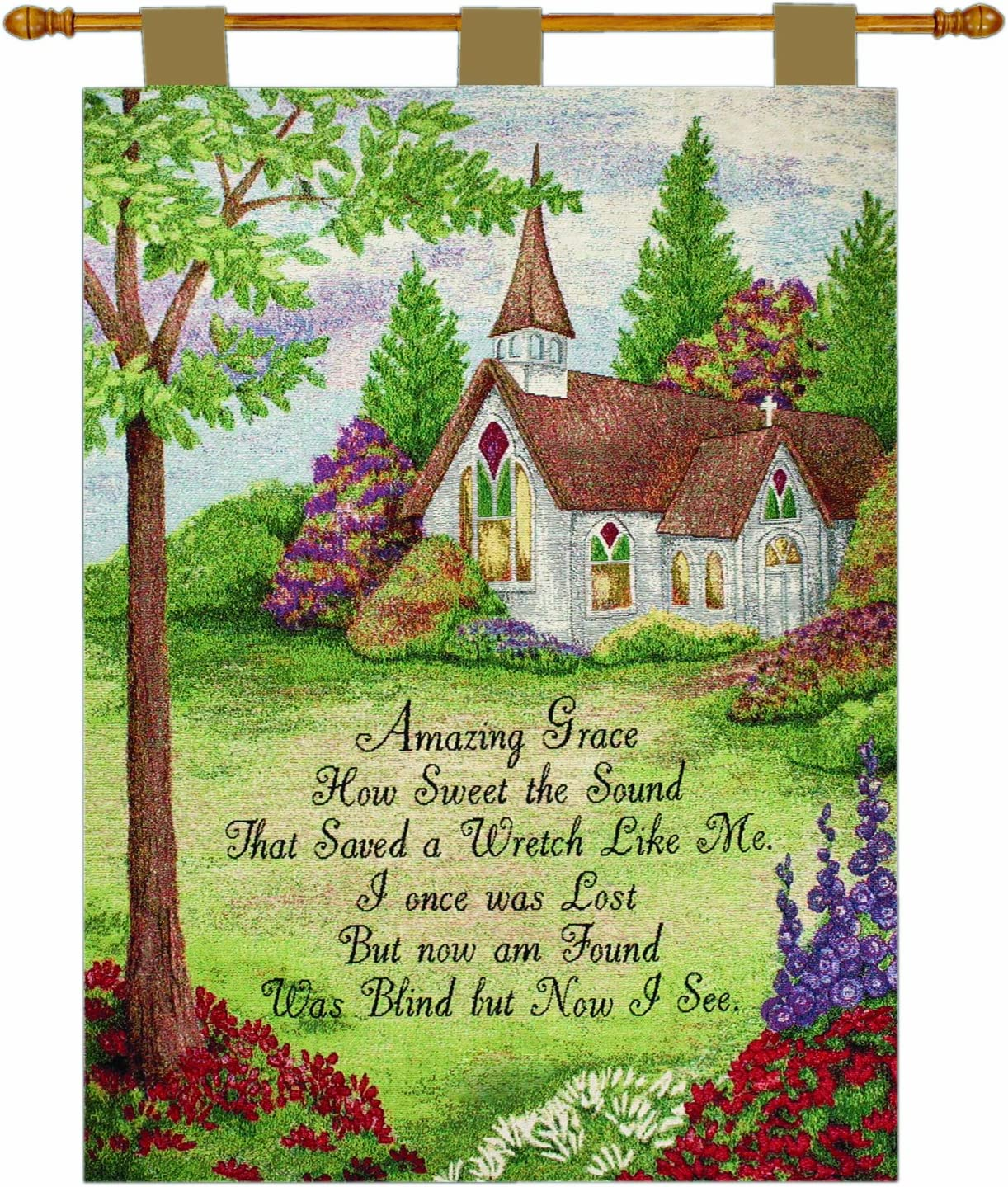 Manual Inspirational Collection 26 X 36-Inch Wall Hanging and Finial Rod, Amazing Grace Church