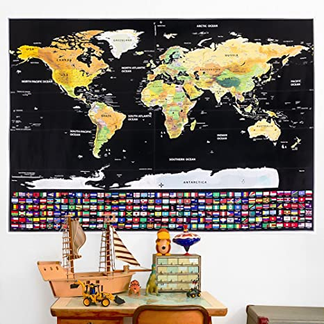 Scratch off world map travel poster 32 x 23 scratchable map scratch off world map travel poster 32quot x 23quot scratchable map tracker for wall gumiabroncs Images