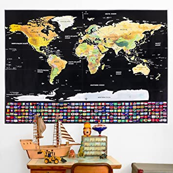 Rabbitgoo scratch off world map poster with country and region flags rabbitgoo scratch off world map poster with country and region flags world travel tracker map gumiabroncs Choice Image