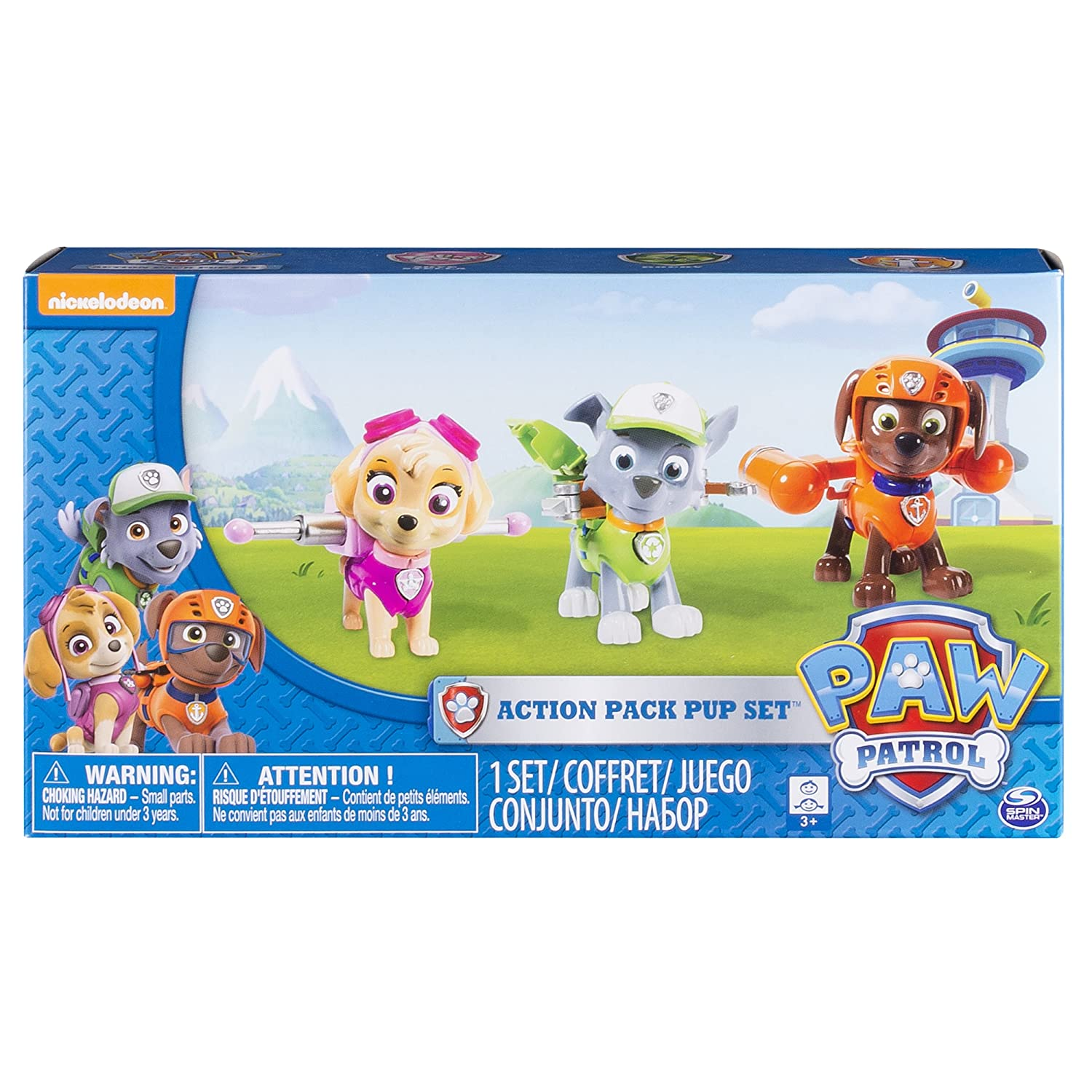 Paw Patrol Action Pack Pups Figure Set 3pk Skye Zuma Rocky