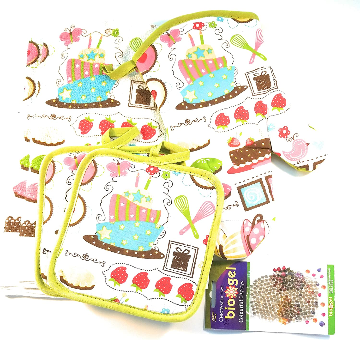 American Mills Baking Themed Kitchen Towel Set (Includes: 1 Oven Mitt, 2 Pot Holders and 2 Dish Towels).