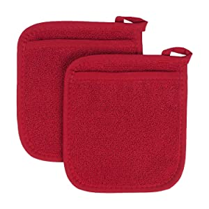 Ritz Royale Collection 100% Cotton Terry Cloth Pocket Mitt Set, Dual-Function Hot Pad/Pot Holder, 2-Piece, Paprika Red