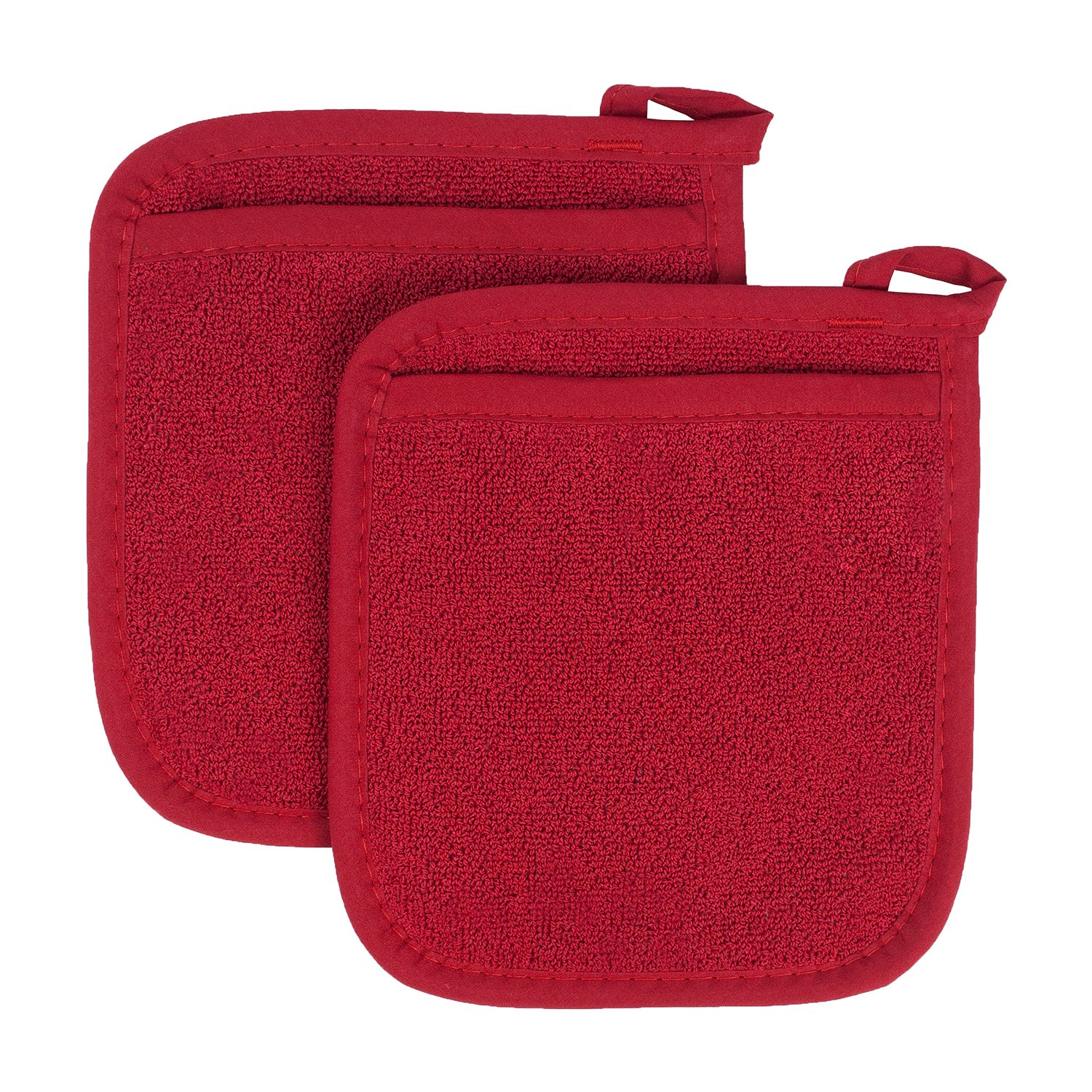 Ritz Royale Collection 100% Cotton Terry Cloth Pot Holder Oven Mitt Set, 2-Piece, Paprika Red